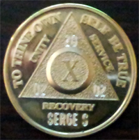 Gold AA Medallions Engraved | Gold Alcoholics Anonymous Medallions