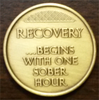 Recovery Begins With 1 Sober Hour Medallion