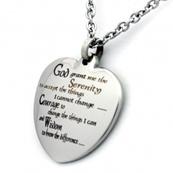 Heart Pendant | Stainless Steel Heart Pendant | Serenity Prayer