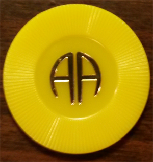 6 Month Yellow AA Plastic Chip