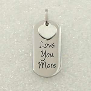 Love You More Stainless Steel Heart