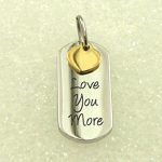 Love You More Stainless Steel Pendant with Gold Heart