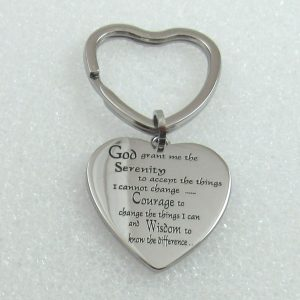 Heart Key Chain With Serenity Prayer That Can Be Engraved With A Special Message.